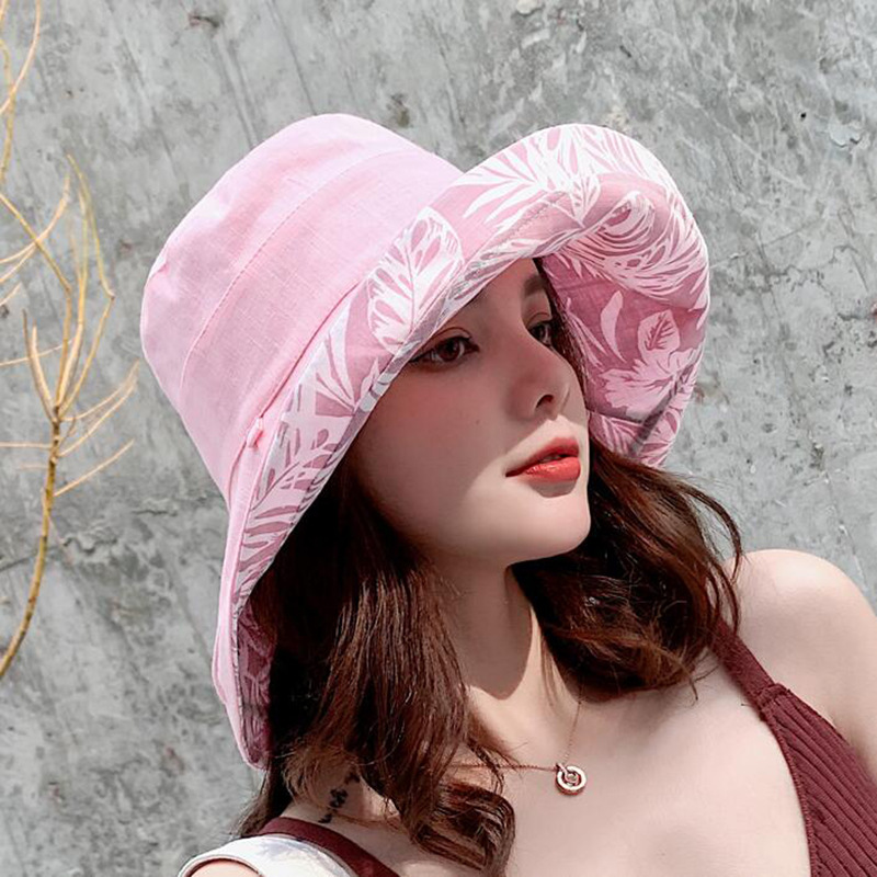 New UV Protection Summer Sun Hat Women Packable Reversible Cotton Ponytail Chin Strap 55-59CM