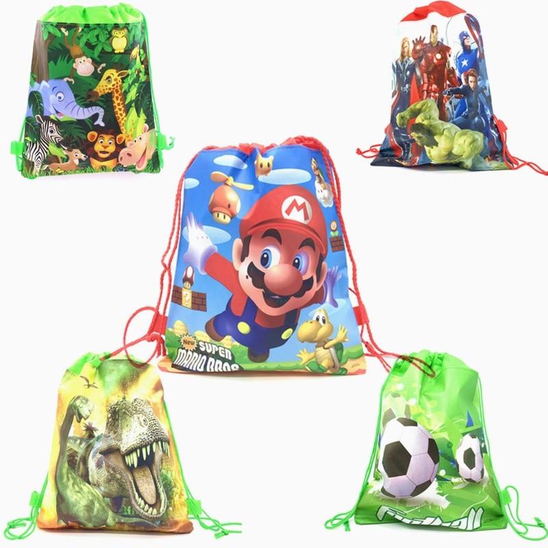 1pcs Super Mario Bros Drawstring Bag For Kids Travel Storage Package Cartoon School Backpacks Children Birthday Party Favors