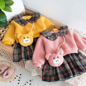 New Baby Girl Dress Princess 2019 New Autumn Winter Baby Clothes Long Sleeve Thick Warm Pig + Pack Party Dress Baby Girl Clothes girl dress baby clothing spring autumn new style floral girl princess dress in long sleeve retro