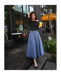 Image 5 - تنورة طويلة للسيدات بألوان سادة من قماش الدنيم على طراز بريبي كوري مواكب للموضة لعام 2020 ، تنورة عالية الخصر للنساء بحاشية كبيرة ، كاجول بسحّاب ، تنورة بأزرار