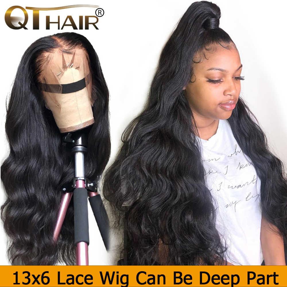 QT ciało fala 360 peruki typu lace front wstępnie oskubane z dzieckiem włosy brazylijski ludzki włos 150 gęstości 13x6 peruka front