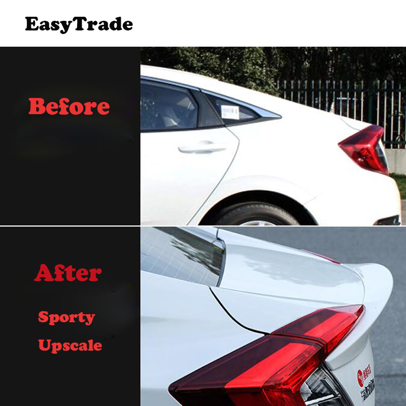 Car Rear Trunk Wing Spoiler High Quality ABS Material Car Rear Wing Primer Color Rear Spoiler For Honda Civic 2016 2019 in Interior Mouldings from Automobiles Motorcycles