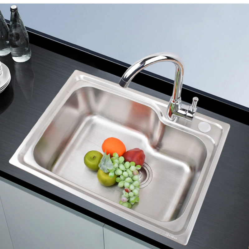 Kitchen Sink 304 Stainless SteelHandmade Brushed Seamless Single Bowl Drawing Drainer Welding Sinks Big Wash Dishes Mx9091350