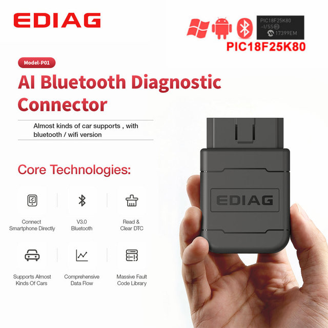 NEW Arrival Ediag P01Ediag P01 ELM327 V1.5 Wifi/Bluetooth with PIC18F25K80 On Android/IOS Elm 327 code reader OBD II 1