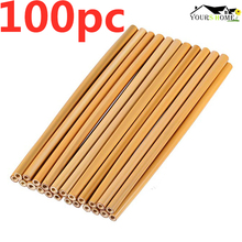 100Pc/Set 20cm Bamboo Straw Reusable Organic Drinking Natural Wood For Party Birthday Wedding Bar Tool