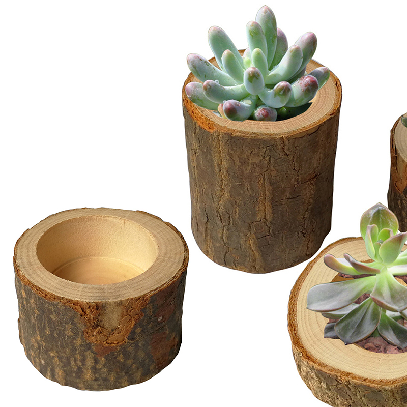 Candle-Holder Ornaments Plant-Pot Wedding-Decoration Wooden Rustic Pillar-Design Handmade title=