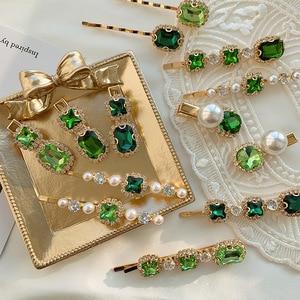 Image 4 - Pinces à cheveux en alliage avec strass verts de style rétro pour femmes, 1 pièce, petites et exquises, accessoires pour cheveux