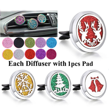 New Snowflake Elk Perfume Jewelry Car Diffuser Air Freshener Essential Oil Locket with Pad Christmas Gifts