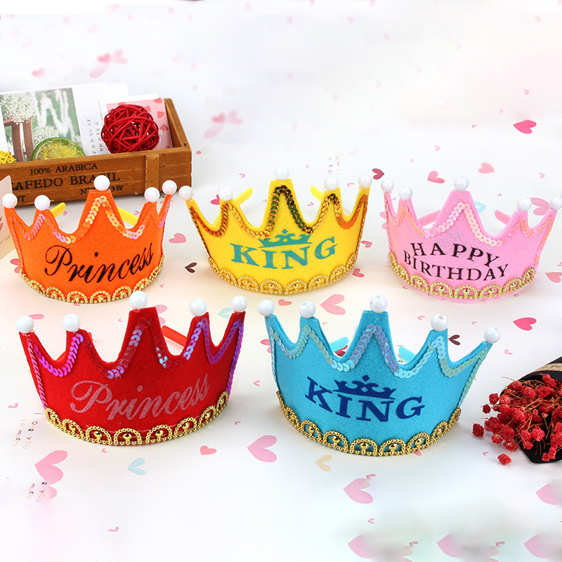 1st Birthday Hat Boy Girl Kids Birthday Party Led Crown Hat King Princess Party Cake Decoration Photo Props