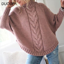 DUOUPA 2019 Autumn Sweaters Female Women's Turtleneck Sweater Knitted Ribbed Pullover Winter Slim Jumper Bat Sleeve Knit Sweater ribbed hooded knit jumper