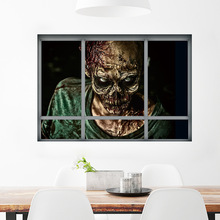 Creative Stereo 3D Window Wall Horror Sticker DecorHalloween Zombie Stickers Halloween Party Living Room Bedroom Decoration