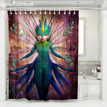 Anime Girls Printed 3D Bath Curtains Waterproof Polyester Fabric Washable Bathroom Shower Curtain Screen with Hooks Accessories