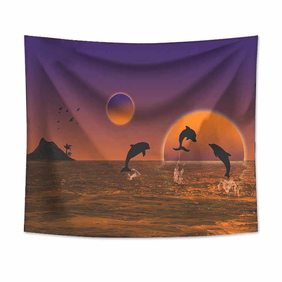イルカタペストリー壁掛け砂浜ピクニックラグキャンプテント睡眠パッド家の装飾ベッドカバーシート壁布