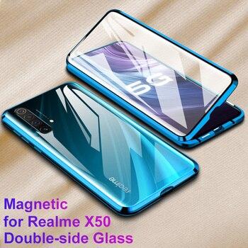 Перейти на Алиэкспресс и купить Металлический чехол с магнитной адсорбцией для Realme X50 Pro Player X3 SuperZoom 6 6s X50m, чехол с магнитной застежкой, чехол из закаленного стекла 360