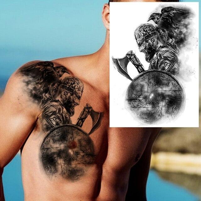 Big Black Tiger Tattoos Fake Men Wolf Leopard Tatoos Waterproof Large Beast Monster Body Arm Legs Tattoos Temporary Paper Cover 4