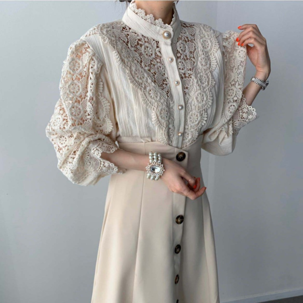 H41b8c2a57e52403e8b408bd28e389c02n - Spring / Autumn Stand Collar Long Sleeves Hollow Out Lace Blouse