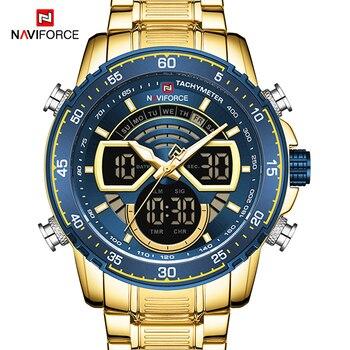 NAVIFORCE Luxury Gold Watches Men Dual Display Military Sport Wristwatch Quartz Digital Watch Waterproof Clock Relogio Masculino - discount item  55% OFF Men's Watches