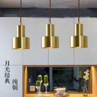 Europe Nordic small copper brass pendant light lamp LED golden modern pendant lamp light bedroom dinning bar LED pendant light|Pendant Lights| |  -