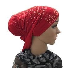 Ajs3205 נשים מצנפת זהב ריינסטון יהלומי Stretchable אוזן כובע מוסלמי חיג אב טורבן עניבה חזרה Underscarf כובע אחד גודל