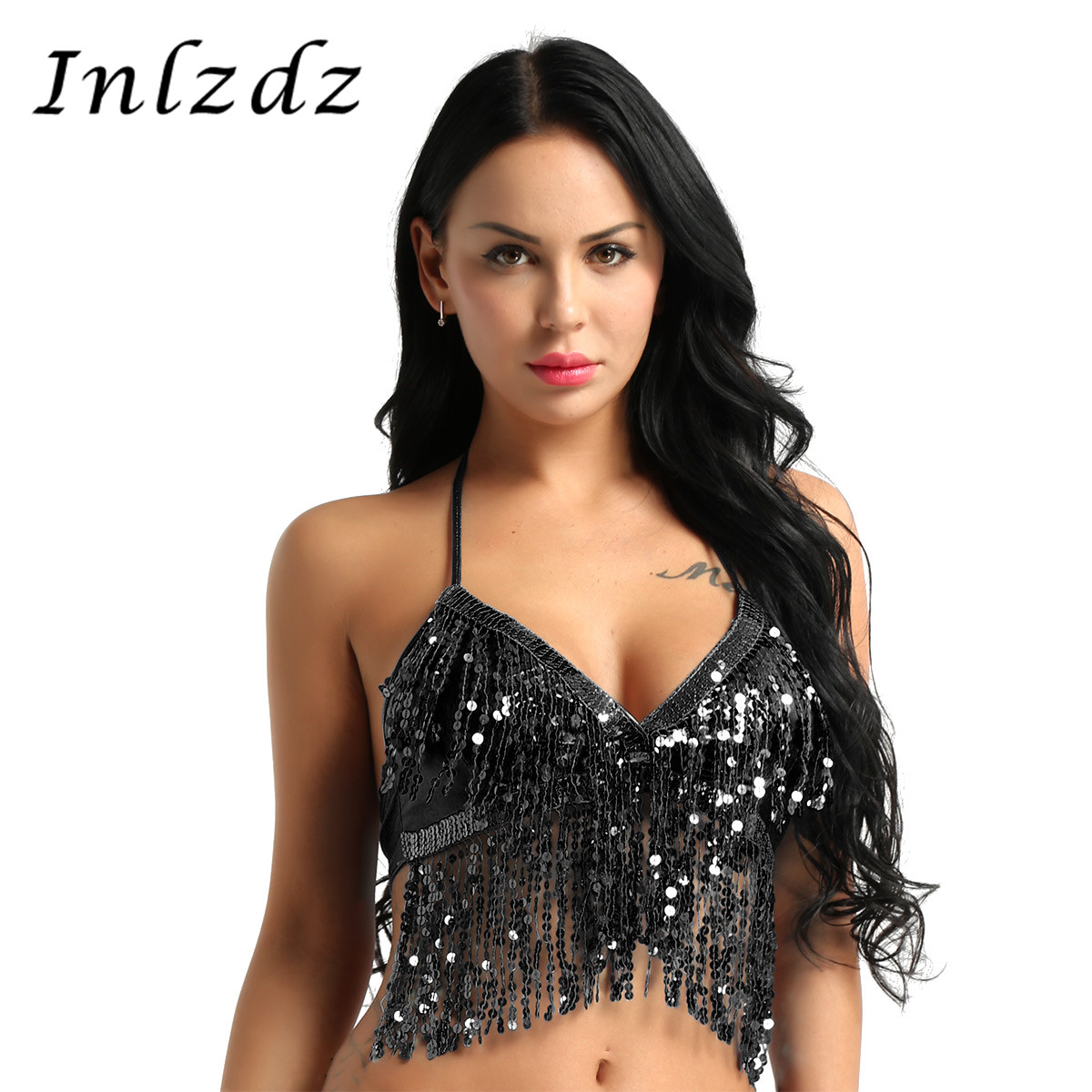 Women Pole Dance Rave Crop Top Wet Look Halter Neck And Back Tie Up Latin Belly Dance Bra Top With Sequins Tassel Rave Clothes