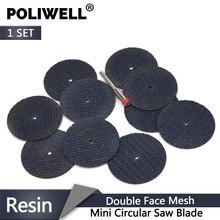 POLIWELL 10PCS כפול סיבי אינטרנט שרף חיתוך דיסקים + 3mm קוטר מוט חתוך גלגלים עבור מתכת dremel רוטרי דק חיתוך כלים