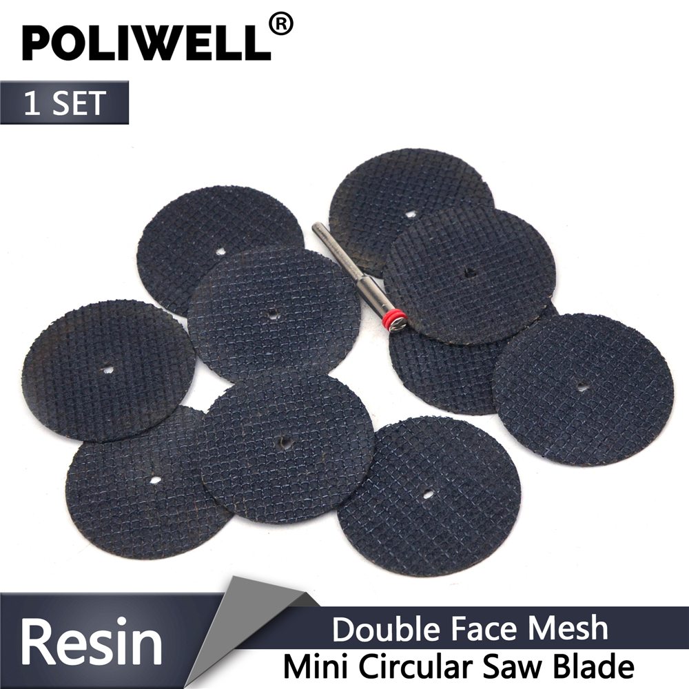 POLIWELL 10PCS Double Fiber Web Resin Cutting Discs + 3mm Diameter Rod Cut-Off Wheels For Metal Dremel Rotary Thin Cutting Tools