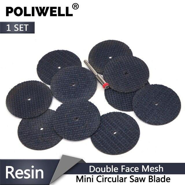 POLIWELL disques de découpe en résine à Double Fiber, + roues de découpe de tige de 3mm de diamètre pour outils de coupe minces rotatifs en métal Dremel, 10 pièces