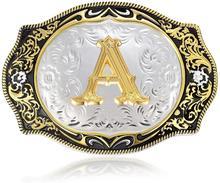 Sprzączka paska w zachodnim stylu klamra inicjały ABCDMRJ to Z kowbojem Rodeo mały złoty klamry do paska dla mężczyzn tanie tanio 3 7mm Klamry pasa GEOMETRIC bt02