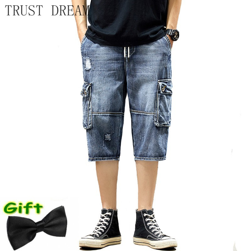 2020 New Men Denim Workout Shorts Solid Straight Man Jean Short More Pockets Casual Plus Size Bermuda Elastic Waist Mens Quality