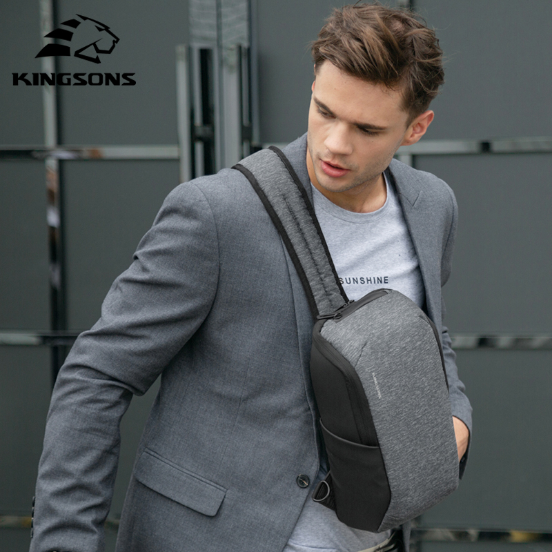 Kingsons 2019 New Style Men Fatshion Laptop Chest Bag Large Capacity Waterproof Travel Crossbody Bag For Teenagers And Male