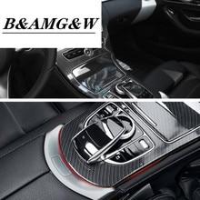 Car ABS Center Console Panel Decoration Cover Trim For Mercedes Benz C Class W205 GLC X253 Carbon Fiber Color Sticker