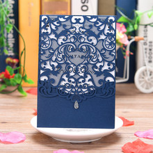 1 Piece sample lace style glittery wedding invitations,share wedding/Birthday/Gender Reveal party invitation card laser cut set(China)