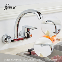 Bathroom Brass Faucet Wall Mounted Kitchen Water Faucet Single Hole Wash Pool water Faucet Wash Table Mixing Valve A6