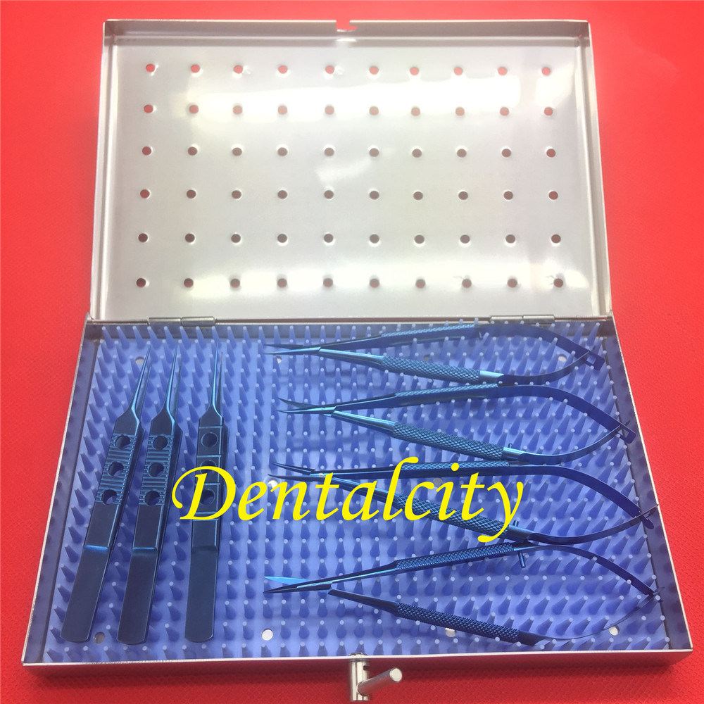 7pcs Titanium Ophthalmic Surgical Instrument With Sterilization Trays Box