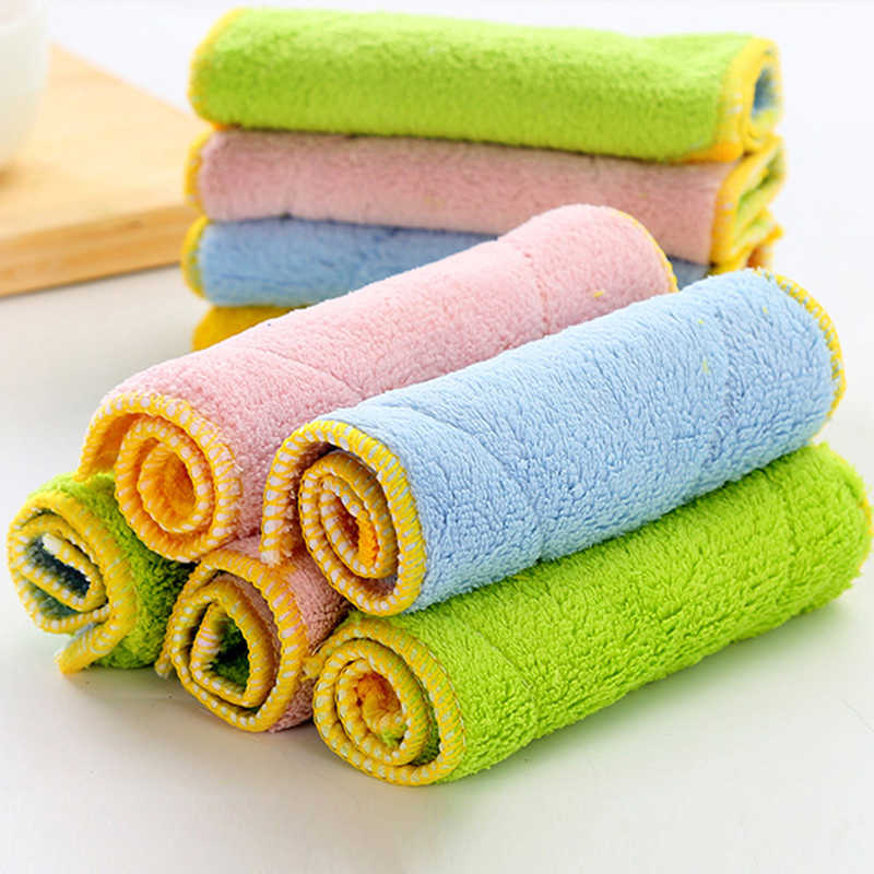 1 Pcs Anti-fettig Mikrofaser Waschen Tuch Geschirrtuch Sauber Handtuch Küche Waschen Reinigung Tuch Scheuer Pad Zufällige Farbe