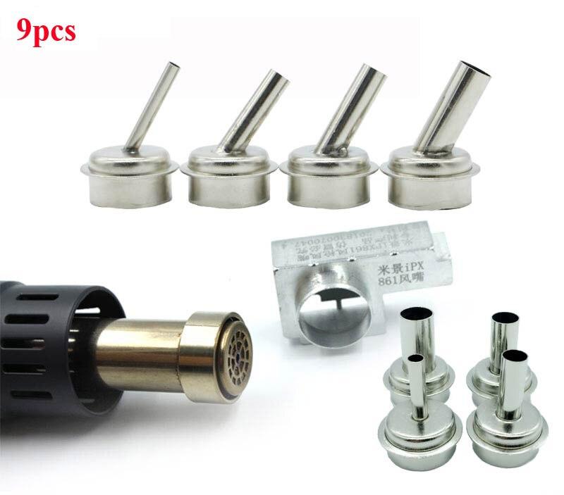 9pcs Air Gun Head For Microscope A8 A9 CPU Blade Fly Line 45 Degrees Air Gun Nozzle For Quick 861DW TR1300A