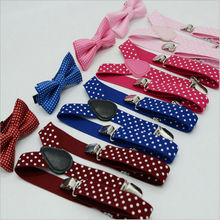 Детский комплект с галстуком-бабочкой, подтяжки в горошек+ галстук-бабочка для малышей, комплект с галстуком-бабочкой, смокинг для свадебной вечеринки