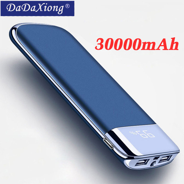 For Xiaomi MI iphone X Note 8 30000mah Power Bank External Battery PoverBank 2 USB LED Powerbank Portable Mobile phone Charger