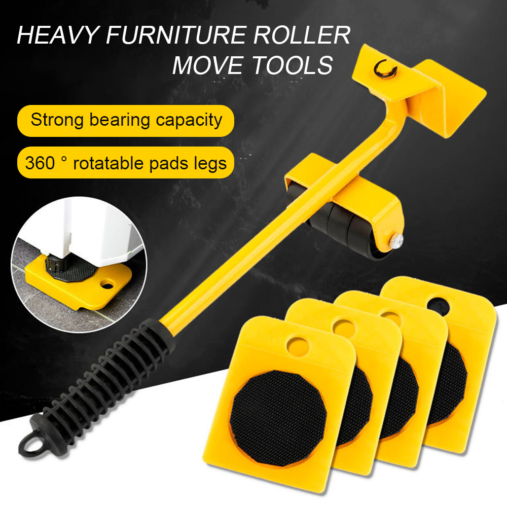 Furniture Lifter Heavy Professional Roller Move Tool Set Wheel Bar Mover Sliders Transporter Kit Trolley for 100Kg/220Lbs(China)