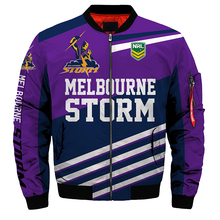 New 2019 Purple Storm 3d Mens Jackets American Baseball Uniform Casual Winter Cotton Men Zipper No Hooded S-5XL