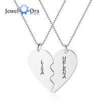 Personalized Best Friends Necklace with Engraved 2 Names Customized Double Heart Pendant Jewelry BFF Friendship Gift (NE102384)(China)