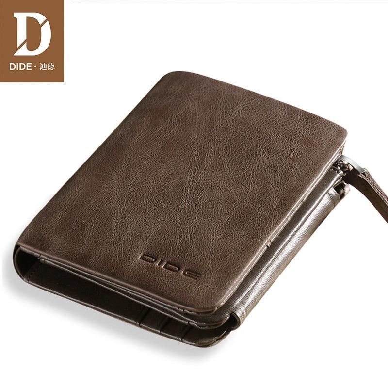 DIDE New 100% genuine leather wallets for men purse Vintage Small Wallet Male Card Holder Tri-fold Zipper Coin Purse DQ595 Men Men's Bags Men's Wallets cb5feb1b7314637725a2e7: Coffee|Khaki