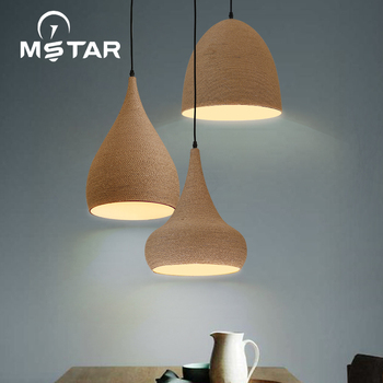 Industrial Retro Pendant Lights For Restaurant/bar/cafe/shop Hanging Light Woven Hemp Rope Diamond Cages Pendant Lamp hanging