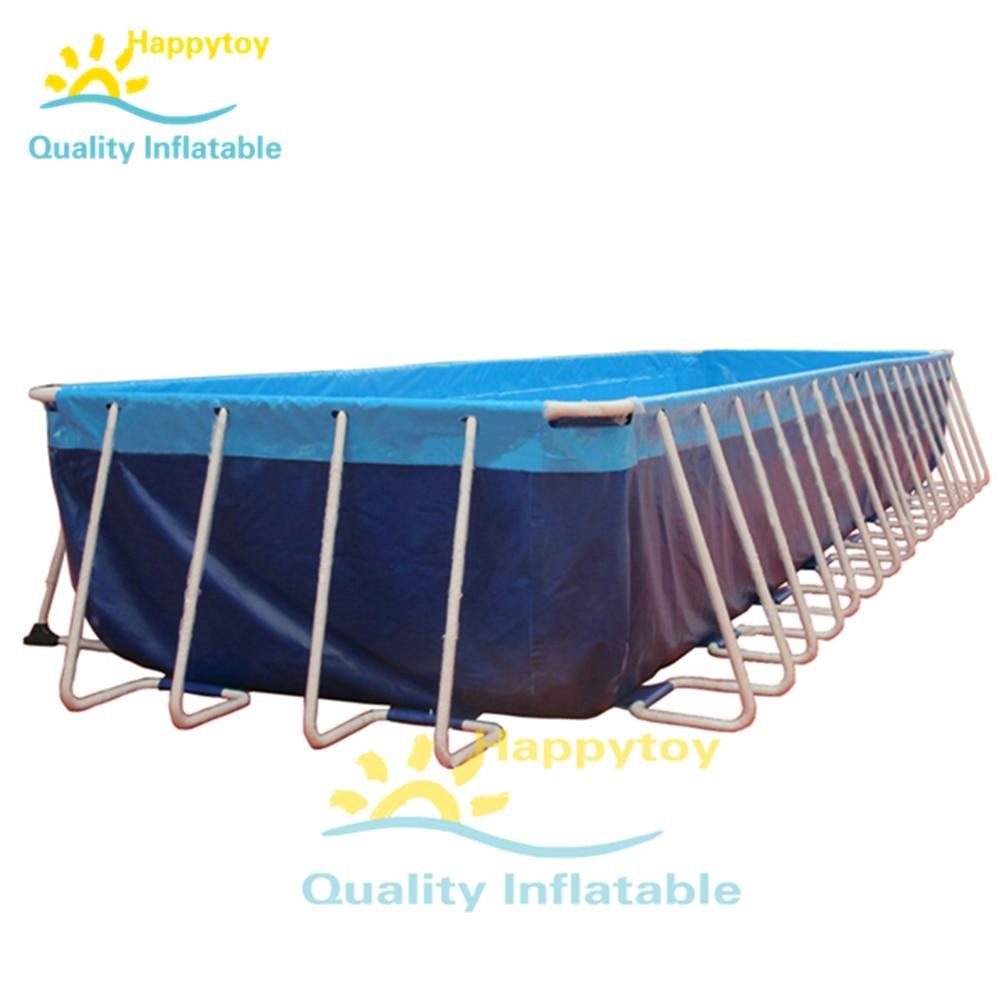Metal Frame Rectangular Inflatable Pool Set Above Ground Swimming Pools