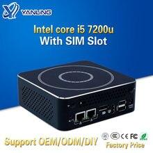 Yanling computadores finos kaby lago minipc i5 7200u duplo núcleo 2 lan mini computador área de trabalho ganhar 10 htpc barebone sistema caixa rs232 com portas