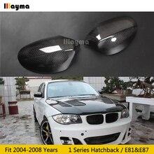 الكربون مرآة ليفية غطاء لسيارات BMW 1 سلسلة Hatchback 116i 120i 130i 135i 2004 2008 سنة E81 E87 سيارة مرآة خلفية غطاء عصا على