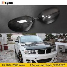 Karbon Fiber ayna kapağı için BMW 1 serisi Hatchback 116i 120i 130i 135i 2004 2008 yıl E81 E87 araba dikiz aynası kapağı stick on