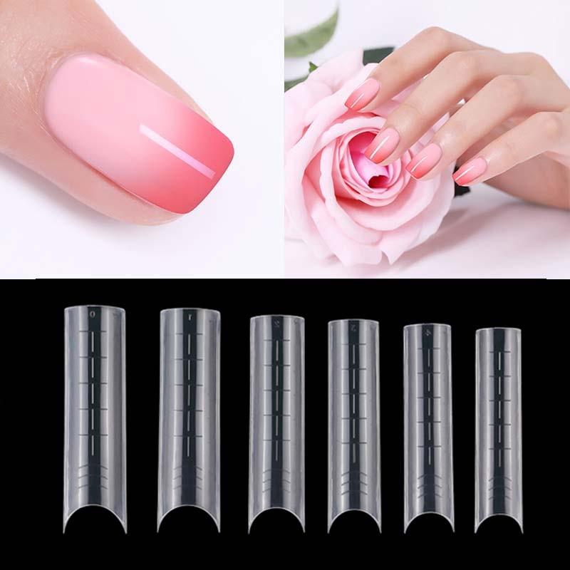 Двойной формы гроб здания французский накладные ногти Расширение искусство пальца формы DIY украшения ногтей советы 60 шт.