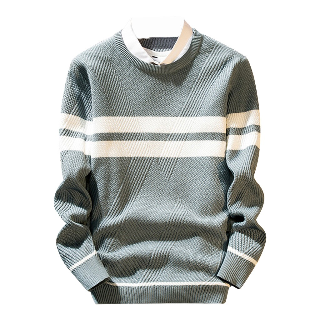 Womail O-Neck Men Sweater Amp Pullover Striped Patchwork Mens Pullover Sweaters Casual Long Sleeve Loose Knitted Sweater