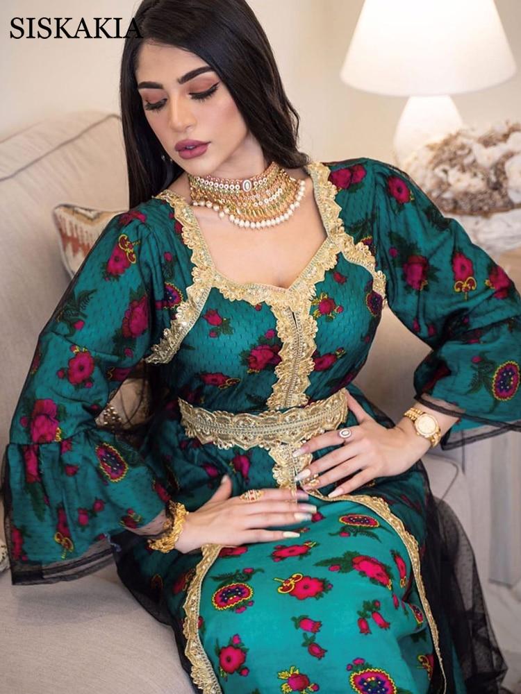 Siskakia Gold Lace Embroidery Jalabiya Mesh Muslim Abaya Dress Eid Mubarak Dubai Turkish Arabic Moroccan Kaftan
